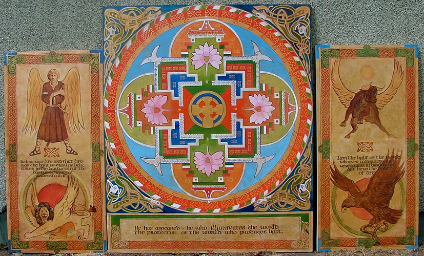 Painting of mandala with Christian and Bhudist symbols
