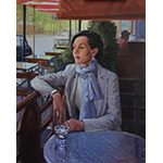 Painting of a woman waiting at a cafe table
