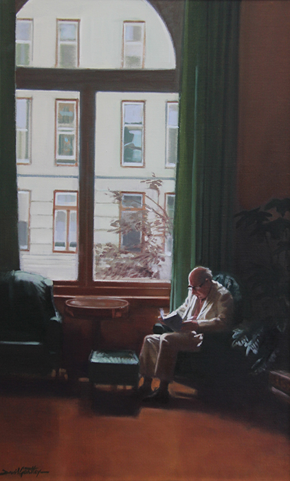 painting of a man reading