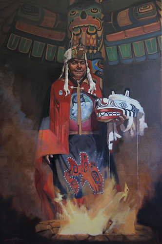 Chief Charlie Mason with white bear mask
