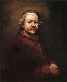 Self portrait by Rembrandt age 63
