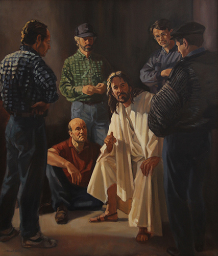 Painting of Jesus with working men