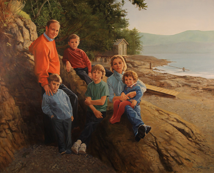 Portrait of family on beach