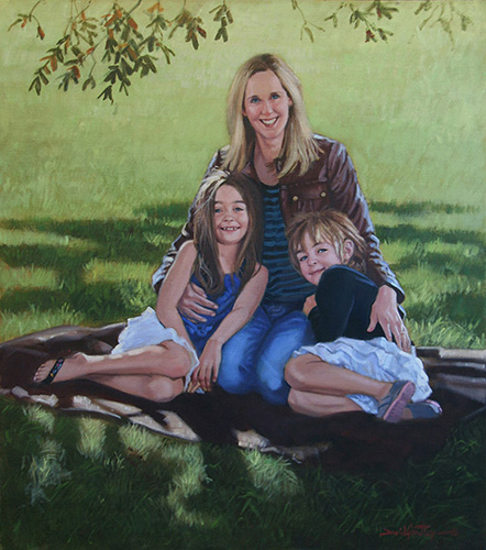 Portrait of family on blanket