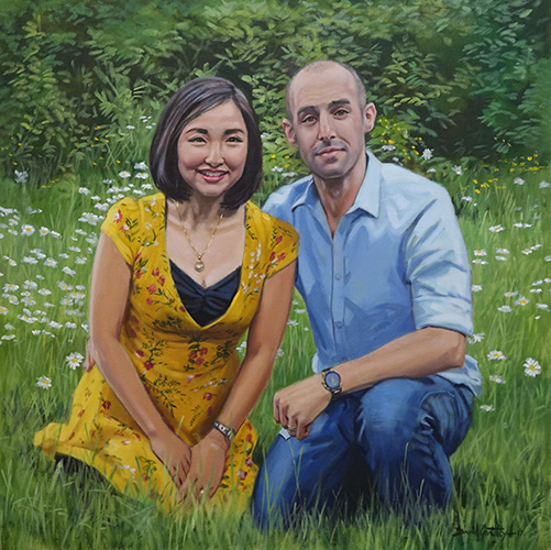 Portrait of man and woman in field