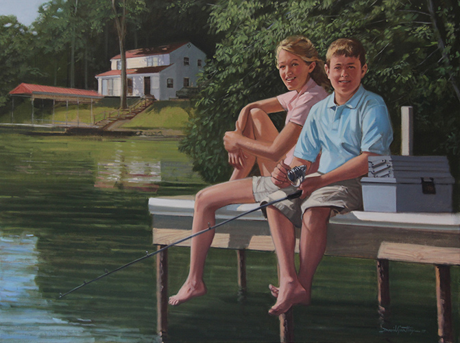 Portrait of boy and girl fishing