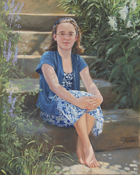Portrait of girl in garden