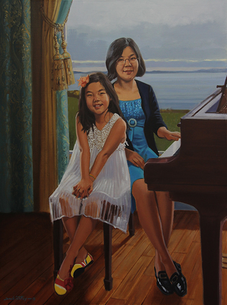Portrait of sisters at piano
