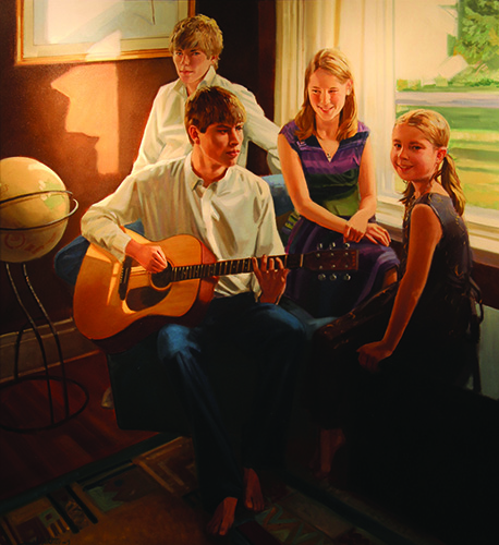 Portrait of family with guitar