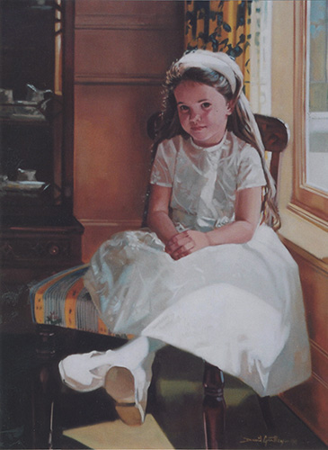 Portrait of girl on chair