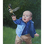 Painting of baby and bird