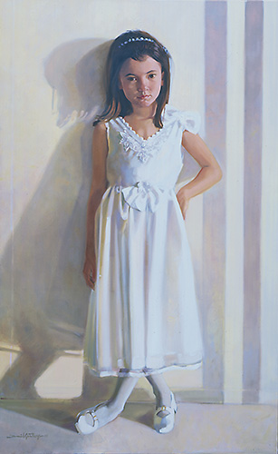 Portrait of girl in white dress