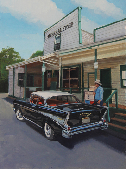 Painting of man with classic car in front of a general store