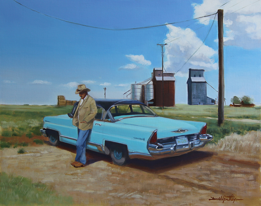 Painting of a man leaning against a car