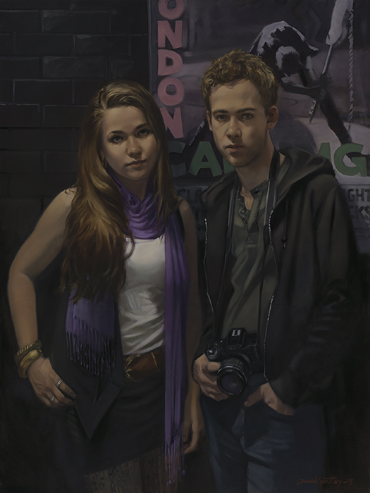 Moody painting of young man and woman