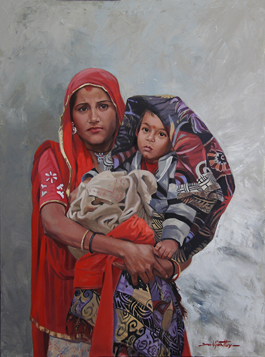 Painting of mother and child in Jaipur