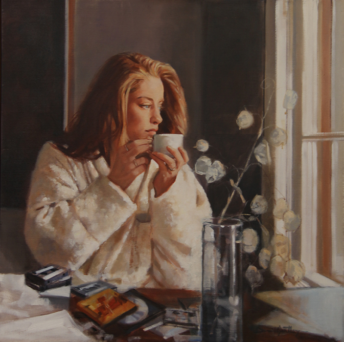 Painting of thoughtful woman