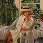 Portrait of woman in sunroom
