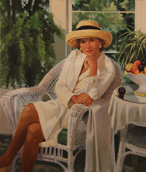 Portrait woman in sunroom