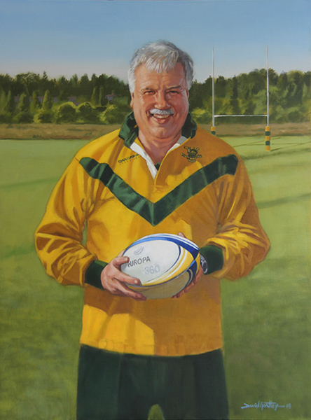Portrait of man on rugby field
