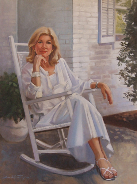 Portrait of woman on porch